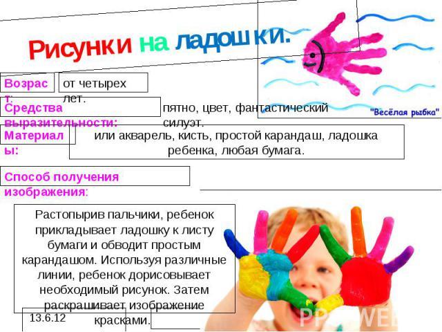 Рисунки на ладошки.или акварель, кисть, простой карандаш, ладошка ребенка, любая бумага. Растопырив пальчики, ребенок прикладывает ладошку к листу бумаги и обводит простым карандашом. Используя различные линии, ребенок дорисовывает необходимый рисун…