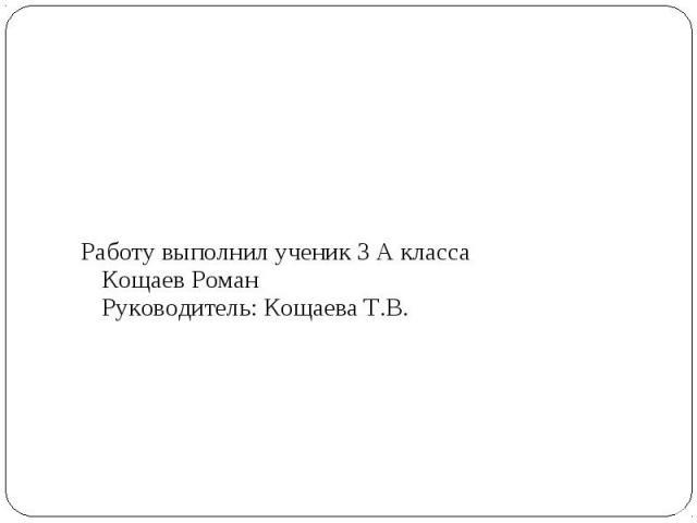 Работу выполнил ученик 3 А класса Кощаев Роман Руководитель: Кощаева Т.В.