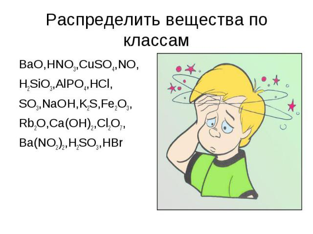 Распределить вещества по классамBaO,HNO3,CuSO4,NO, H2SiO3,AlPO4,HCl, SO3,NaOH,K2S,Fe2O3, Rb2O,Ca(OH)2,Cl2O7, Ba(NO2)2,H2SO3,HBr