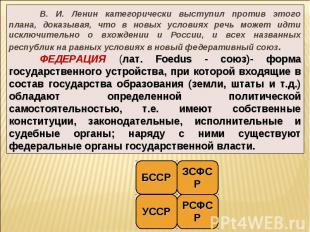 В. И. Ленин категорически выступил против этого плана, доказывая, что в новых ус