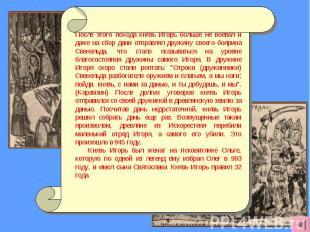 После этого похода князь Игорь больше не воевал и даже на сбор дани отправлял др
