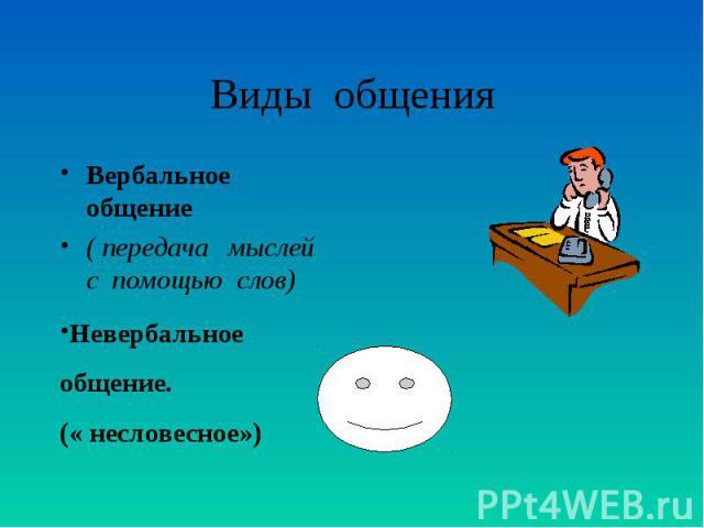 Виды общения Вербальное общение ( передача мыслей с помощью слов) Невербальное общение. (« несловесное»)