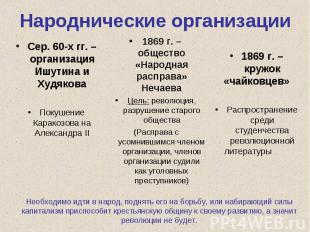 Народнические организацииСер. 60-х гг. – организация Ишутина и Худякова Покушени