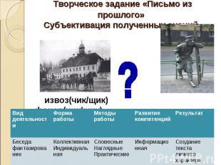Творческое задание «Письмо из прошлого» Субъективация полученных знаний извоз(чи
