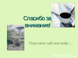 Спасибо за внимание! Пора пить чай или кофе…
