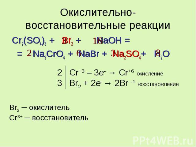 Окислительно-восстановительные реакции Cr2(SO4)3 + Br2 + NaOH = = Na2CrO4 + NaBr + Na2SO4+ H2O 2 Cr+3 – 3e- → Cr+6 окисление 3 Br2 + 2e- → 2Br -1 восстановление Br2 ─ окислитель Cr3+ ─ восстановитель