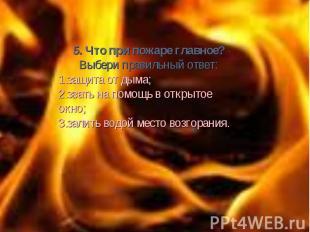 5. Что при пожаре главное? Выбери правильный ответ: защита от дыма; звать на пом