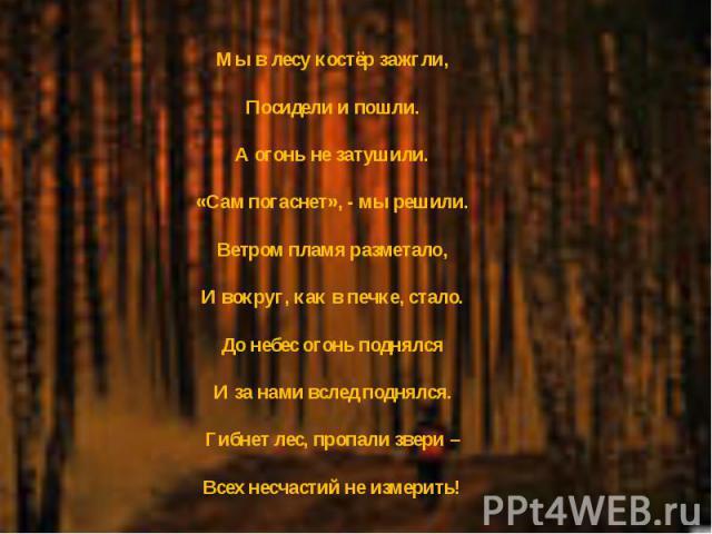 Мы в лесу костёр зажгли, Посидели и пошли. А огонь не затушили. «Сам погаснет», - мы решили. Ветром пламя разметало, И вокруг, как в печке, стало. До небес огонь поднялся И за нами вслед поднялся. Гибнет лес, пропали звери – Всех несчастий не измерить!