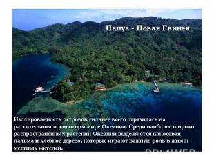 Папуа - Новая Гвинея Изолированность островов сильнее всего отразилась на растит