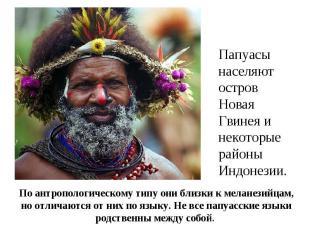 Папуасы населяют остров Новая Гвинея и некоторые районы Индонезии. По антрополог