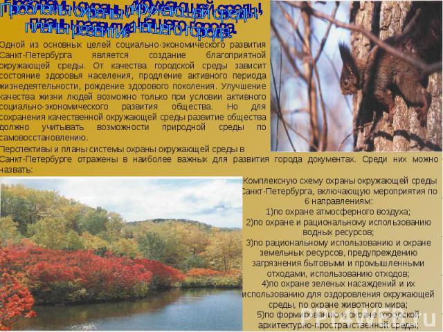 Проблемы охраны окружающей среды, планы развитие нашего города. Одной из основных целей социально-экономического развития Санкт-Петербурга является создание благоприятной окружающей среды. От качества городской среды зависит состояние здоровья насел…
