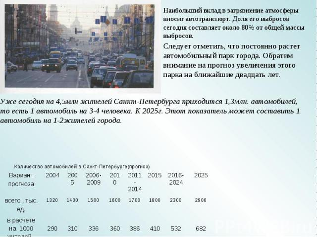 Наибольший вклад в загрязнение атмосферы вносит автотранспорт. Доля его выбросов сегодня составляет около 80% от общей массы выбросов. Следует отметить, что постоянно растет автомобильный парк города. Обратим внимание на прогноз увеличения этого пар…