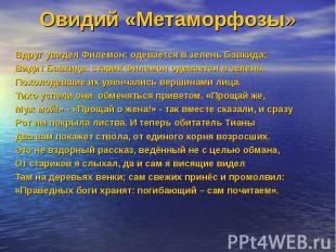 Овидий «Метаморфозы»Вдруг увидел Филемон: одевается в зелень Бавкида; Видит Бавк