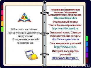 В России в настоящее время успешно действуют виртуальные объединения учителей-пр
