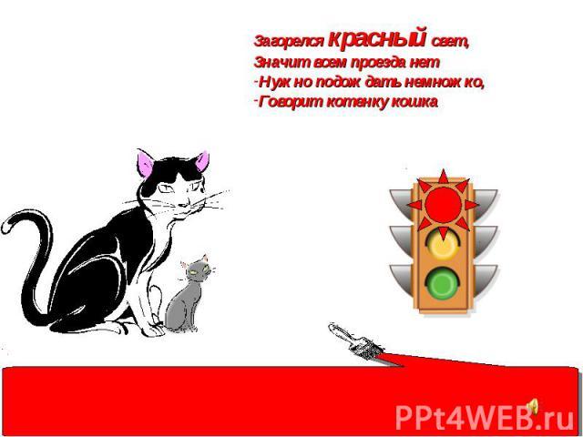 Загорелся красный свет, Значит всем проезда нет Нужно подождать немножко, Говорит котенку кошка