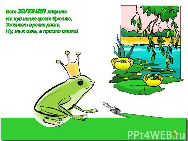 Вот зеленая лягушка На кувшинке греет брюшко, Зеленеет в речке ряска, Ну, не жизнь, а просто сказка!
