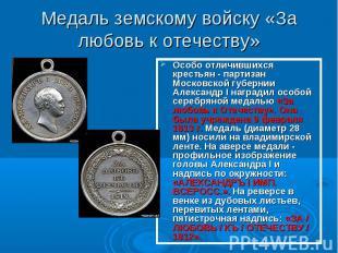 Медаль земскому войску «За любовь к отечеству» Особо отличившихся крестьян - пар