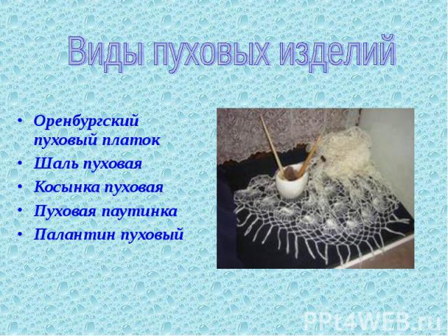 Виды пуховых изделий Оренбургский пуховый платок Шаль пуховая Косынка пуховая Пуховая паутинка Палантин пуховый