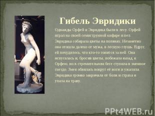 Гибель Эвридики Однажды Орфей и Эвридика были в лесу. Орфей играл на своей семис
