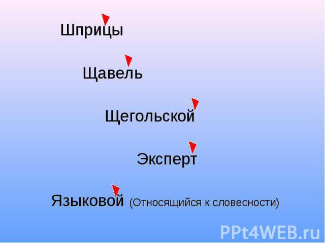 Шприцы Щавель Щегольской Эксперт Языковой (Относящийся к словесности)