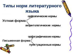Типы норм литературного языка орфоэпические нормы Устная форма акцентологические