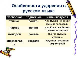 Особенности ударения в русском языке