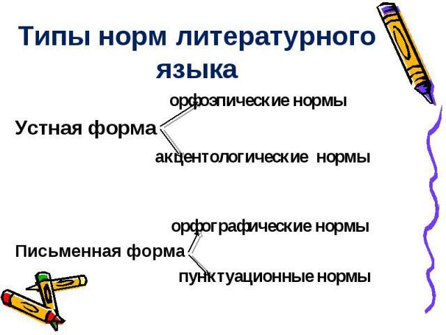 Типы норм литературного языка орфоэпические нормы Устная форма акцентологические нормы орфографические нормы Письменная форма пунктуационные нормы