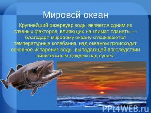 Мировой океан Крупнейший резервуар воды является одним из главных факторов, влия