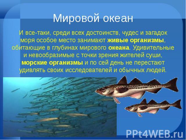 Мировой океан И все-таки, среди всех достоинств, чудес и загадок моря особое место занимают живые организмы, обитающие в глубинах мирового океана. Удивительные и невообразимые с точки зрения жителей суши, морские организмы и по сей день не перестают…