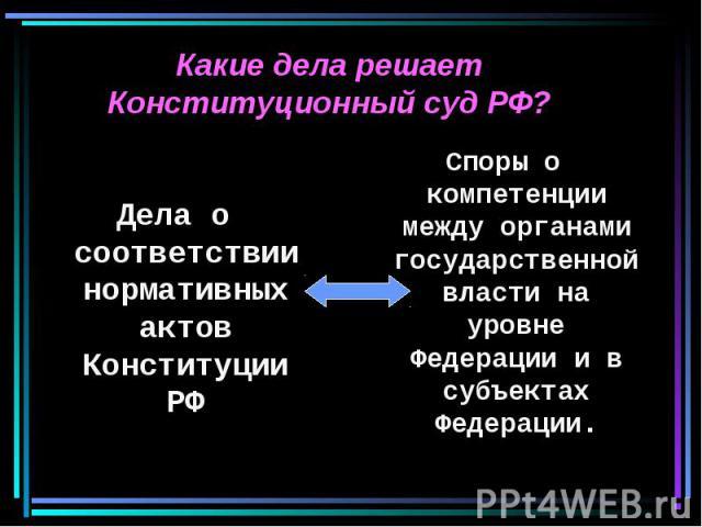 Какие дела решает Конституционный суд РФ? Дела о соответствии нормативных актов Конституции РФ Споры о компетенции между органами государственной власти на уровне Федерации и в субъектах Федерации.