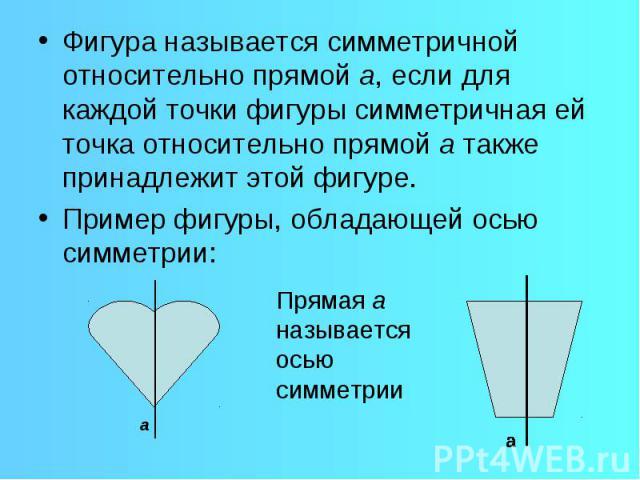 Фигура называется симметричной относительно прямой а, если для каждой точки фигуры симметричная ей точка относительно прямой а также принадлежит этой фигуре. Пример фигуры, обладающей осью симметрии: Прямая а называется осью симметрии