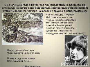 В начале 1916 года в Петроград приезжала Марина Цветаева. На литературном вечере
