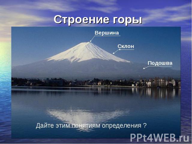 Строение горы Дайте этим понятиям определения ?