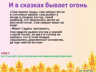 И в сказках бывает огонь «Сам принес воды, сам набрал веток и сосновых шишек, са