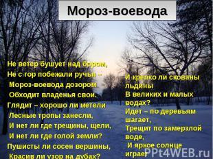 Мороз-воевода Не ветер бушует над бором, Не с гор побежали ручьи – Мороз-воевода