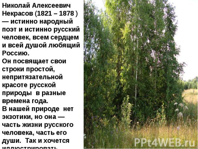 Николай Алексеевич Некрасов (1821 – 1878 ) — истинно народный поэт и истинно русский человек, всем сердцем и всей душой любящий Россию. Он посвящает свои строки простой, непритязательной красоте русской природы в разные времена года. В нашей природе…