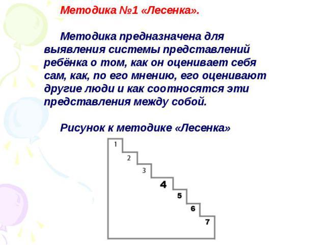 Методика №1 «Лесенка». Методика предназначена для выявления системы представлений ребёнка о том, как он оценивает себя сам, как, по его мнению, его оценивают другие люди и как соотносятся эти представления между собой. Рисунок к методике «Лесенка»