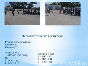 Легкоатлетическая эстафета Руководители эстафеты: Бликов С.Б. Калиев А.Т. Юноши