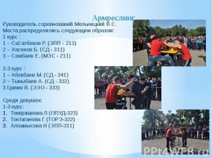 Руководитель соревнований Мельницкий В.С. Места распределились следующим образом