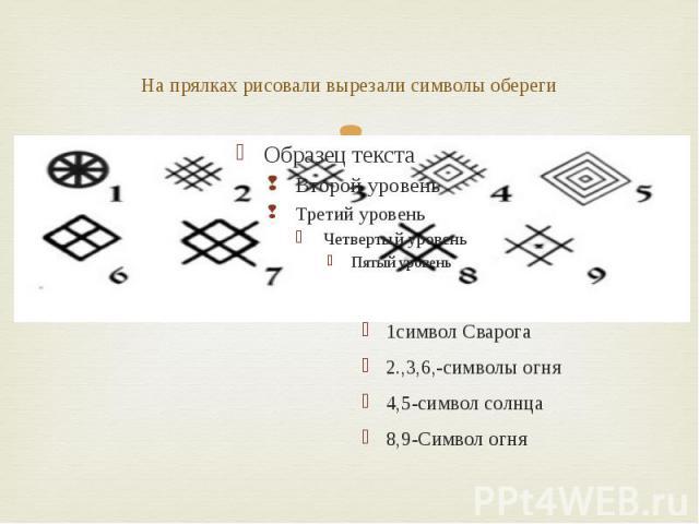 На прялках рисовали вырезали символы обереги 1символ Сварога 2.,3,6,-символы огня 4,5-символ солнца 8,9-Символ огня