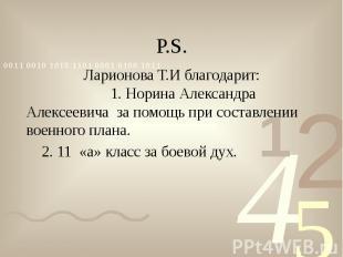 Р.S. Ларионова Т.И благодарит: 1. Норина Александра Алексеевича за помощь при со