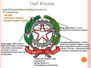 Герб Италии. Герб Итальянской республики состоит из 3-х элементов: - звезды - зу