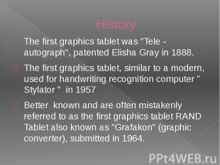 "History The first graphics tablet was ""Tele - autograph"", patented Eli"