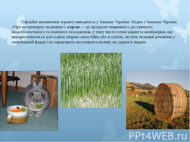 Офіційне визначення терміну наводиться у Законах України. Згідно з Законом України «Про ветеринарну медицину», корми — це продукти тваринного, рослинного, мікробіологічного та хімічного походження, у тому числі готові корми та комбікорми, що викорис…