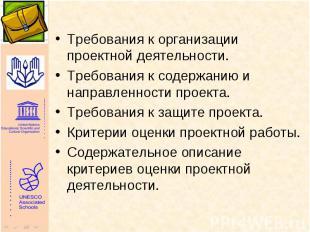 Требования к организации проектной деятельности. Требования к организации проект