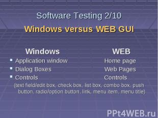 Software Testing 2/10 Windows versus WEB GUI Windows WEB Application window Home