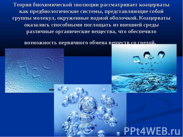 Теория биохимической эволюции рассматривает коацерваты как предбиологические системы, представляющие собой группы молекул, окруженные водной оболочкой. Коацерваты оказались способными поглощать из внешней среды различные органические вещества, что о…