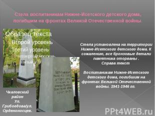 Стела воспитаникам Нижне-Исетского детского дома, погибшим на фронтах Великой От