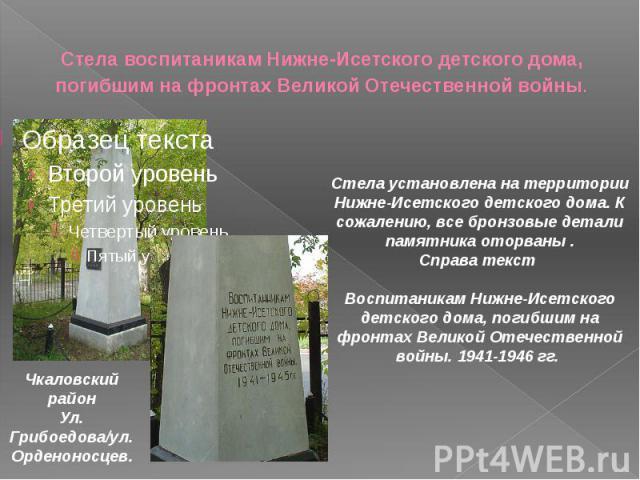Стела воспитаникам Нижне-Исетского детского дома, погибшим на фронтах Великой Отечественной войны.