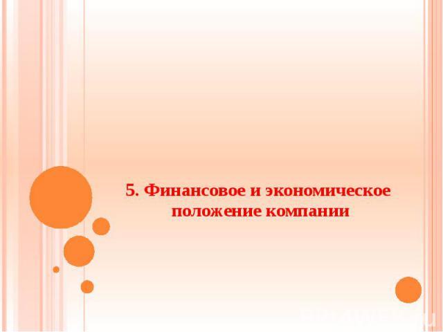 5. Финансовое и экономическое положение компании